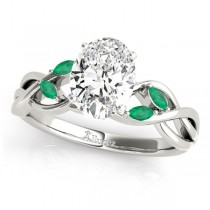 Twisted Oval Emeralds Vine Leaf Engagement Ring 18k White Gold (1.50ct)