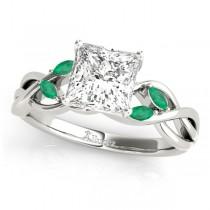 Twisted Princess Emeralds Vine Leaf Engagement Ring 18k White Gold (0.50ct)