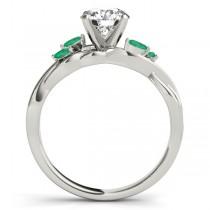 Twisted Round Emeralds Vine Leaf Engagement Ring 18k White Gold (0.50ct)