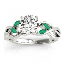 Emerald Marquise Vine Leaf Engagement Ring 18k White Gold (0.20ct)