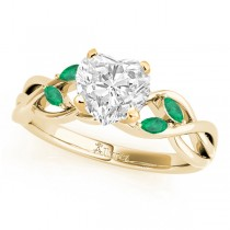 Twisted Heart Emeralds Vine Leaf Engagement Ring 18k Yellow Gold (1.50ct)