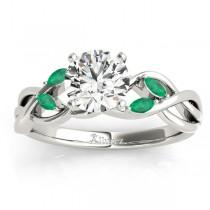 Emerald Marquise Vine Leaf Engagement Ring Palladium (0.20ct)