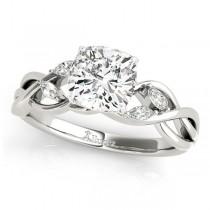 Twisted Cushion Diamonds Vine Leaf Engagement Ring Palladium (1.50ct)