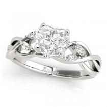 Twisted Heart Diamonds Vine Leaf Engagement Ring Palladium (1.50ct)