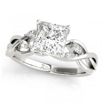 Twisted Princess Diamonds Vine Leaf Engagement Ring Palladium (1.50ct)
