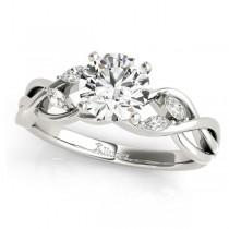Twisted Round Diamonds Vine Leaf Engagement Ring Palladium (1.50ct)