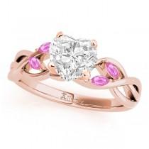 Heart Pink Sapphires Vine Leaf Engagement Ring 14k Rose Gold (1.50ct)