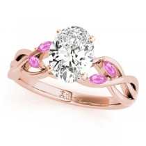 Oval Pink Sapphires Vine Leaf Engagement Ring 14k Rose Gold (1.50ct)