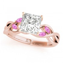 Princess Pink Sapphires Vine Leaf Engagement Ring 14k Rose Gold (1.50ct)
