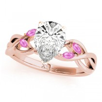 Pear Pink Sapphires Vine Leaf Engagement Ring 14k Rose Gold (1.50ct)