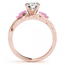 Round Pink Sapphires Vine Leaf Engagement Ring 14k Rose Gold (0.50ct)
