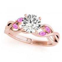 Round Pink Sapphires Vine Leaf Engagement Ring 14k Rose Gold (1.00ct)