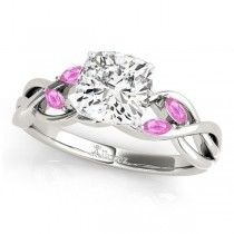 Cushion Pink Sapphires Vine Leaf Engagement Ring 14k White Gold (1.50ct)
