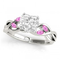 Heart Pink Sapphires Vine Leaf Engagement Ring 14k White Gold (1.50ct)
