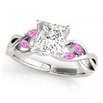 Princess Pink Sapphires Vine Leaf Engagement Ring 14k White Gold (1.00ct)