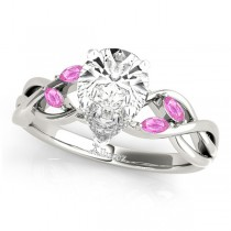 Pear Pink Sapphires Vine Leaf Engagement Ring 14k White Gold (1.50ct)