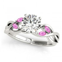 Round Pink Sapphires Vine Leaf Engagement Ring 14k White Gold (0.50ct)