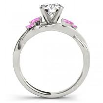 Round Pink Sapphires Vine Leaf Engagement Ring 14k White Gold (0.50ct)
