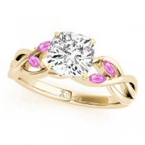 Cushion Pink Sapphires Vine Leaf Engagement Ring 14k Yellow Gold (1.00ct)