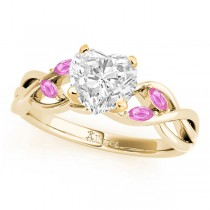 Heart Pink Sapphires Vine Leaf Engagement Ring 14k Yellow Gold (1.50ct)