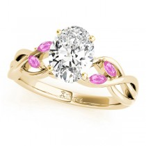 Oval Pink Sapphires Vine Leaf Engagement Ring 14k Yellow Gold (1.50ct)