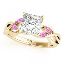 Princess Pink Sapphires Vine Leaf Engagement Ring 14k Yellow Gold (1.00ct)