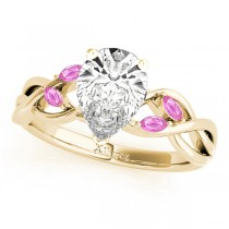 Pear Pink Sapphires Vine Leaf Engagement Ring 14k Yellow Gold (1.00ct)