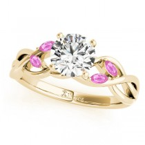 Round Pink Sapphires Vine Leaf Engagement Ring 14k Yellow Gold (0.50ct)
