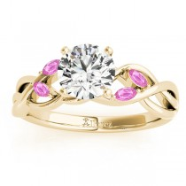 Pink Sapphire Marquise Vine Leaf Engagement Ring 14k Yellow Gold (0.20ct)