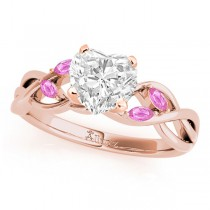 Heart Pink Sapphires Vine Leaf Engagement Ring 18k Rose Gold (1.50ct)