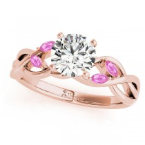 Twisted Round Pink Sapphires & Moissanite Engagement Ring 18k Rose Gold (1.50ct)