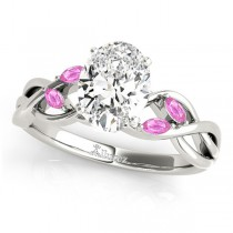 Oval Pink Sapphires Vine Leaf Engagement Ring 18k White Gold (1.50ct)
