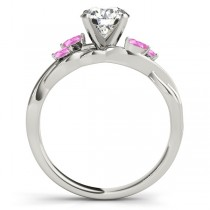 Twisted Round Pink Sapphires & Moissanite Engagement Ring 18k White Gold (0.50ct)
