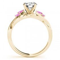 Twisted Round Pink Sapphires & Moissanite Engagement Ring 18k Yellow Gold (0.50ct)