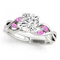 Twisted Cushion Pink Sapphires Vine Leaf Engagement Ring Palladium (1.00ct)