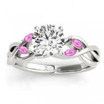 Pink Sapphire Marquise Vine Leaf Engagement Ring Palladium (0.20ct)