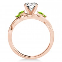 Peridot Marquise Vine Leaf Engagement Ring 14k Rose Gold (0.20ct)
