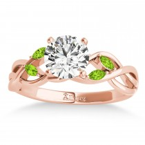 Peridot Marquise Vine Leaf Engagement Ring 18k Rose Gold (0.20ct)