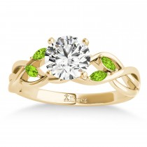 Peridot Marquise Vine Leaf Engagement Ring 18k Yellow Gold (0.20ct)