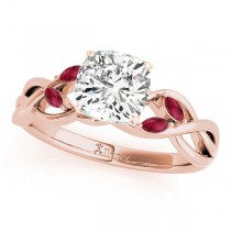 Twisted Cushion Rubies Vine Leaf Engagement Ring 14k Rose Gold (1.50ct)