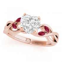 Twisted Heart Rubies Vine Leaf Engagement Ring 14k Rose Gold (1.00ct)