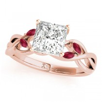 Twisted Princess Rubies Vine Leaf Engagement Ring 14k Rose Gold (1.00ct)