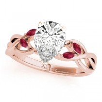 Twisted Pear Rubies Vine Leaf Engagement Ring 14k Rose Gold (1.50ct)