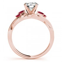 Twisted Round Rubies & Moissanite Engagement Ring 14k Rose Gold (1.00ct)