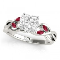 Twisted Heart Rubies Vine Leaf Engagement Ring 14k White Gold (1.50ct)