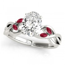 Twisted Oval Rubies Vine Leaf Engagement Ring 14k White Gold (1.50ct)