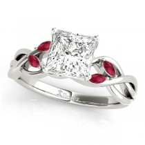 Twisted Princess Rubies Vine Leaf Engagement Ring 14k White Gold (1.00ct)