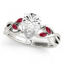 Twisted Pear Rubies Vine Leaf Engagement Ring 14k White Gold (1.00ct)