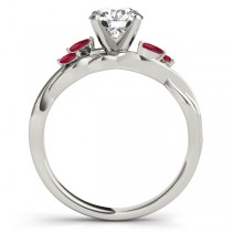 Twisted Round Rubies Vine Leaf Engagement Ring 14k White Gold (0.50ct)
