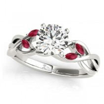 Twisted Round Rubies Vine Leaf Engagement Ring 14k White Gold (1.00ct)
